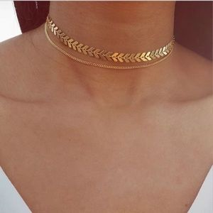New Gold 2 Layers Chocker Chain Necklace